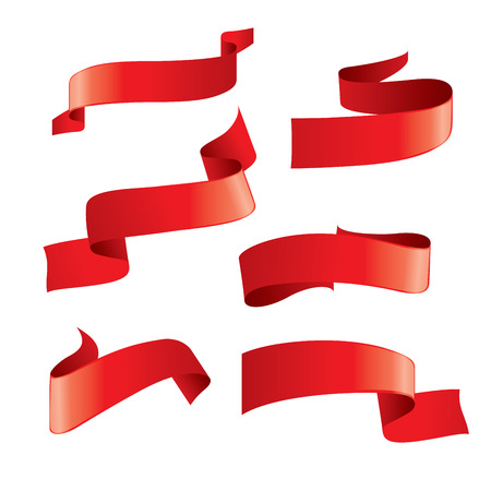 Set of red vector ribbons