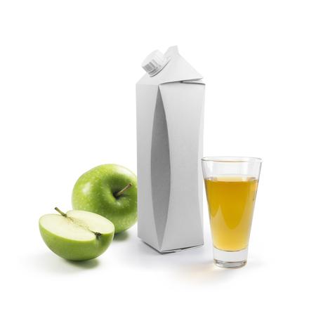 caja de leche: Plantilla de embalaje para el jugo Foto de archivo