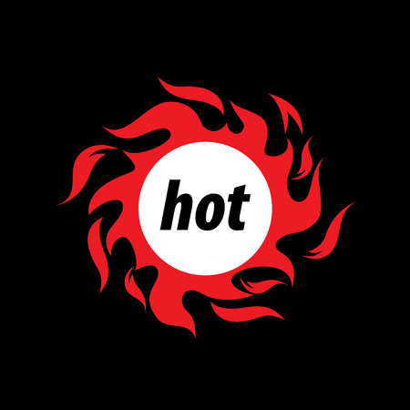 Circular fire vector logo in black. Illustration
