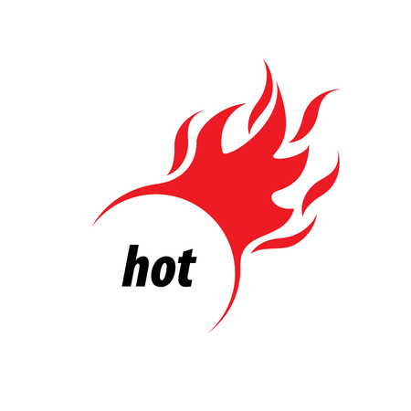 Blazing fire on the side vector logo in white background. Illustration