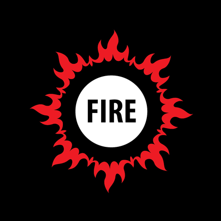 flaming: Flaming circular fire vector logo Illustration