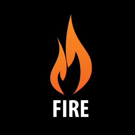 Creative blazing orange fire vector logo in black.