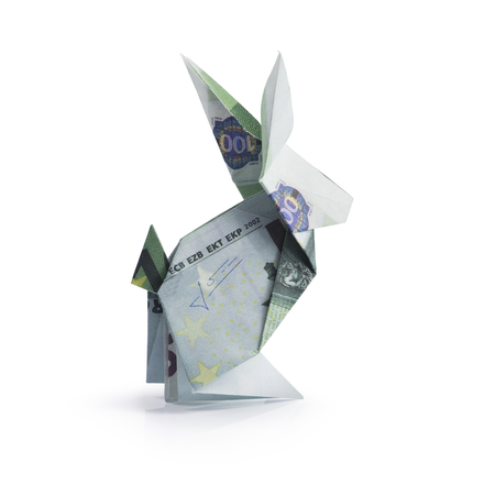 origami hare from banknotes Stock Photo
