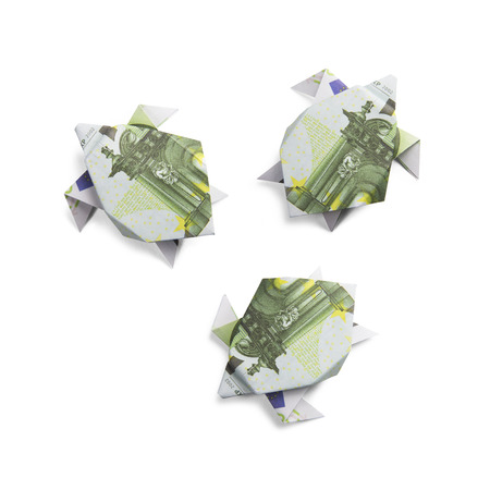 origami turtles from banknotes Stock Photo