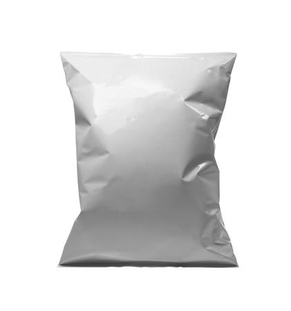 lege of witte snackverpakking met plastic zak Stockfoto