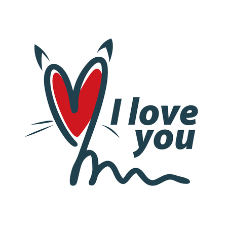 I love you. I heart you. Valentines day greeting card with calligraphy. Hand drawn design elements