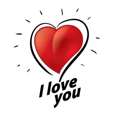 Ik hou van je. Ik heb je hart. De groetkaart van de valentijnskaartendag met kalligrafie. Hand getrokken ontwerpelementen Stock Illustratie