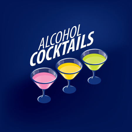 alcoholic cocktails logo vector illustration. Illustration