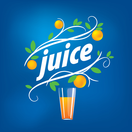 Glass of juice with twigs of orange fruit in blue background. logo design