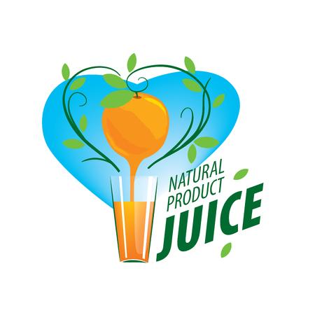 Orange juice dripping on a glass. logo template Illustration