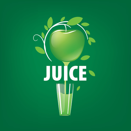 Green apple juice dripping on a glass. logo design