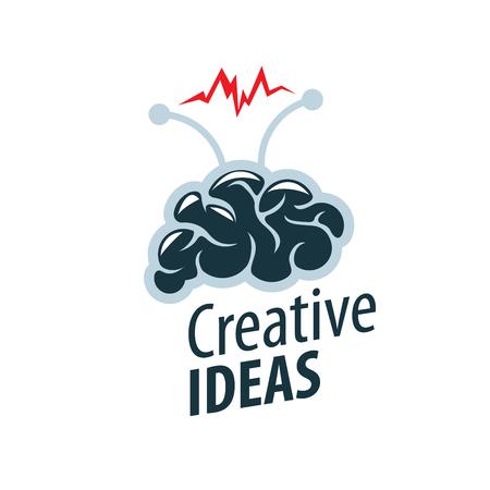 脳の創造的なアイデアのロゴのコンセプト デザイン。  イラスト・ベクター素材