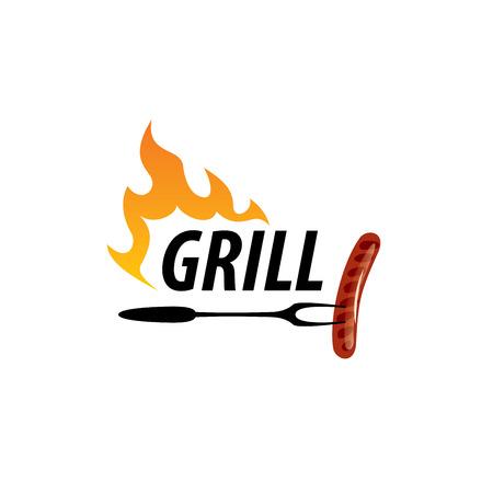 A logo design template for a barbecue Vector illustration Vettoriali