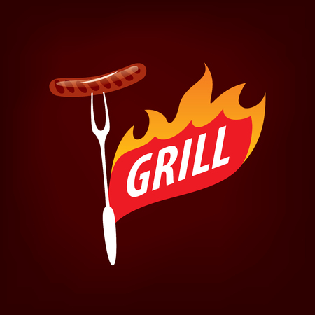 A logo design template for a barbecue Vector illustration 일러스트