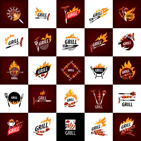 A logo design template for a barbecue Vector illustration  イラスト・ベクター素材