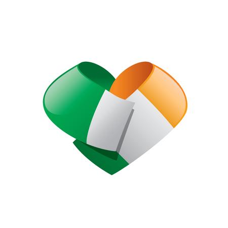 Ireland flag in heart shape, vector illustration on a white background