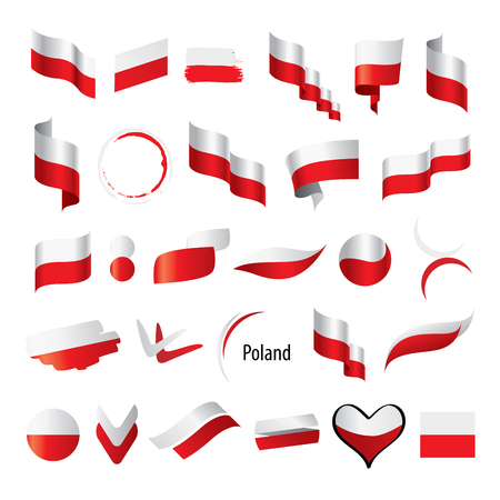 Poland flag, vector illustration on a white background 일러스트