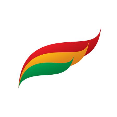 Bandera de Bolivia, ilustración vectorial sobre un fondo blanco Vectores