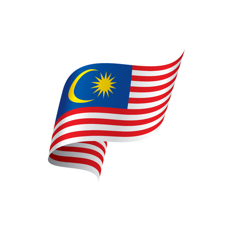 Vlag van Maleisië, vectorillustratie op een witte achtergrond Stock Illustratie