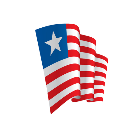 Liberia flag, vector illustration on a white background.