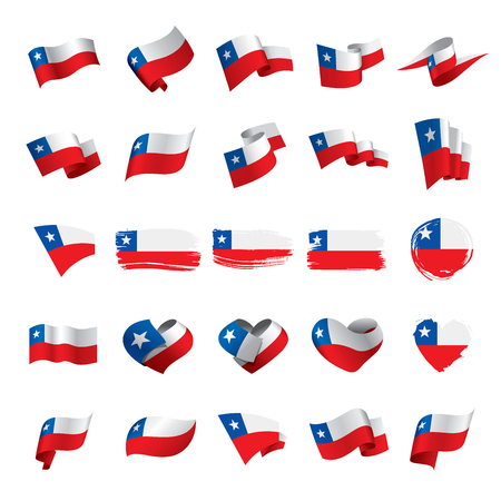 Chile flag, vector illustration on a white background