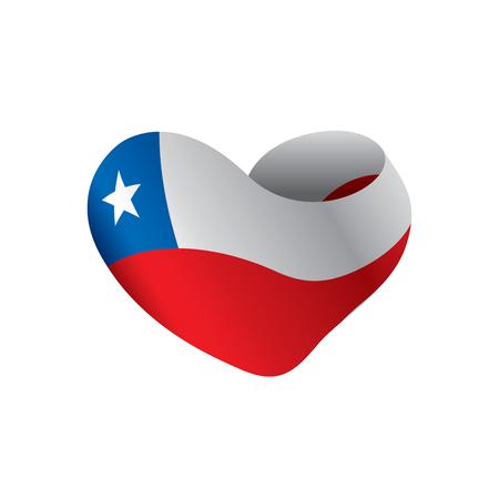 チリの旗、白い背景にベクトルイラスト  イラスト・ベクター素材