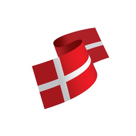 Danmark flag, vector illustration on a white background.