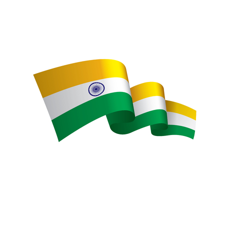 India flag, vector illustration on a white background  イラスト・ベクター素材
