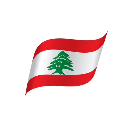 Lebanese flag, vector illustration on a white background 向量圖像