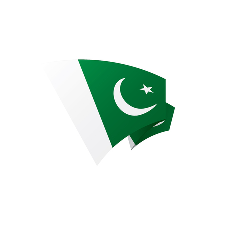 Pakistan flag, vector illustration on a white background Banco de Imagens - 94465486