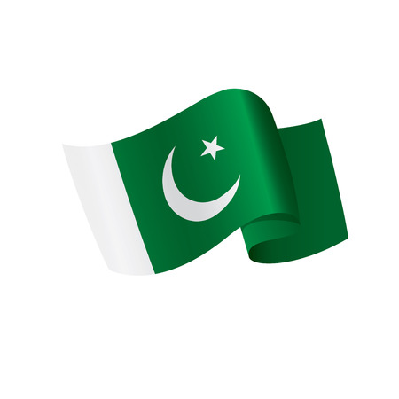 Pakistan flag, vector illustration on a white background Illustration