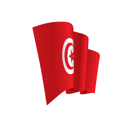 Tunisia flag, vector illustration on a white background Ilustração