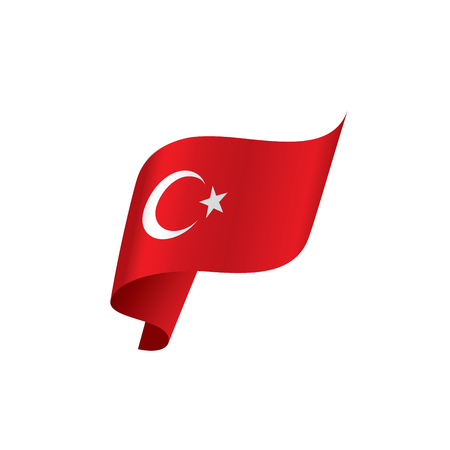 Turkey flag, vector illustration on a white background Stock Illustratie