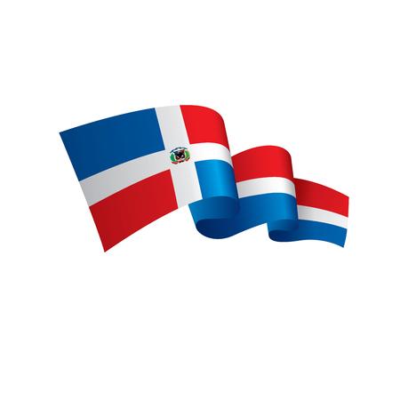 Dominicaanse vlag, vectorillustratie. Stock Illustratie