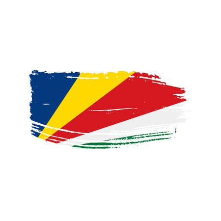 Seychelles flag, vector illustration on a white background Çizim
