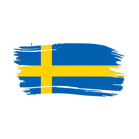 Sweden flag, vector illustration on a white background