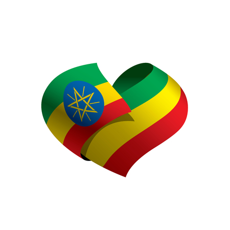 Ethiopia flag, vector illustration on a white background Banque d'images - 95072028