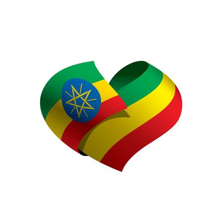 Vlag van Ethiopië, vectorillustratie op een witte achtergrond Stock Illustratie