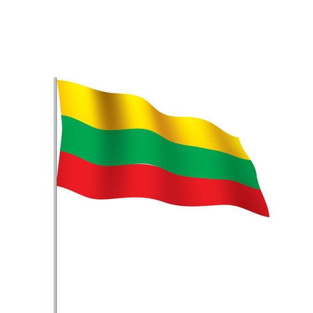 Lithuania flag on its stick isolated vector illustration Vectores