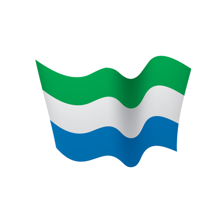Sierra Leone flag, vector illustration on colorful presentation.