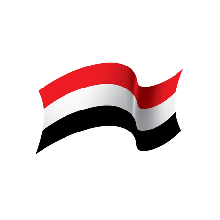 Yemeni flag, vector illustration on colorful presentation.