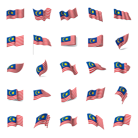 Malaysia flag, vector illustration on colorful presentation.