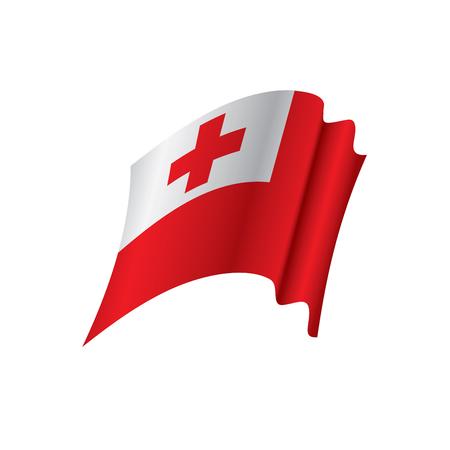 Tonga flag, vector illustration on colorful presentation. Illustration