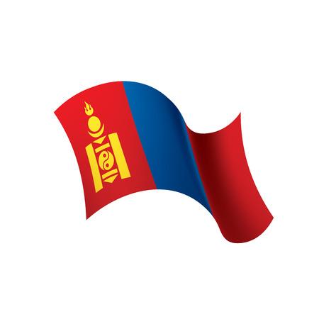 Mongolia flag, vector illustration Stock Illustratie