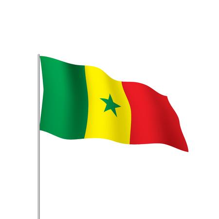 Senegal flag, waved illustration in white background.