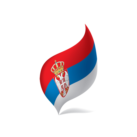 Serbia flag, waving illustration in white background.