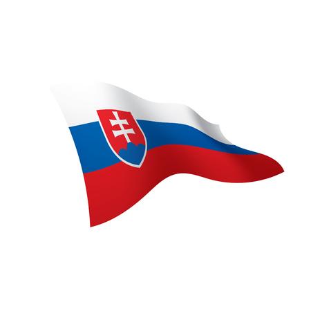 Slovakia flag, waving illustration in white background.