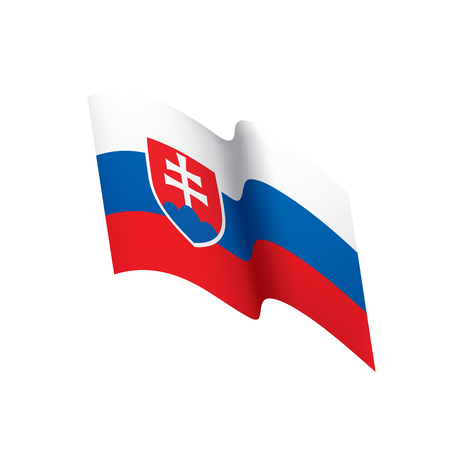 Slovakia flag, waving illustration in white background.