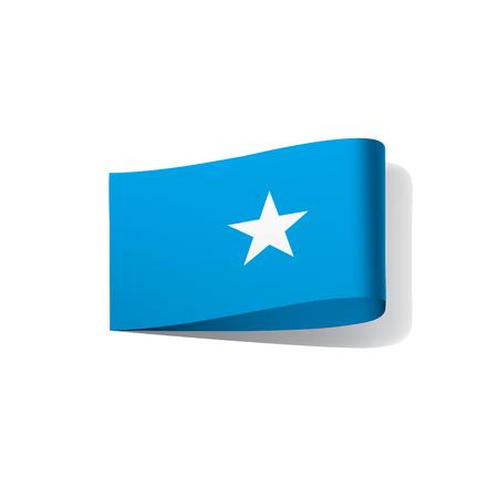 Somalia flag, waving illustration in white background.