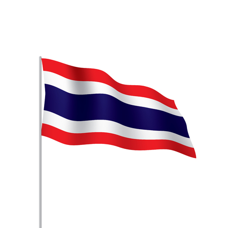 Thailand flag, waving illustration in white background. Illustration